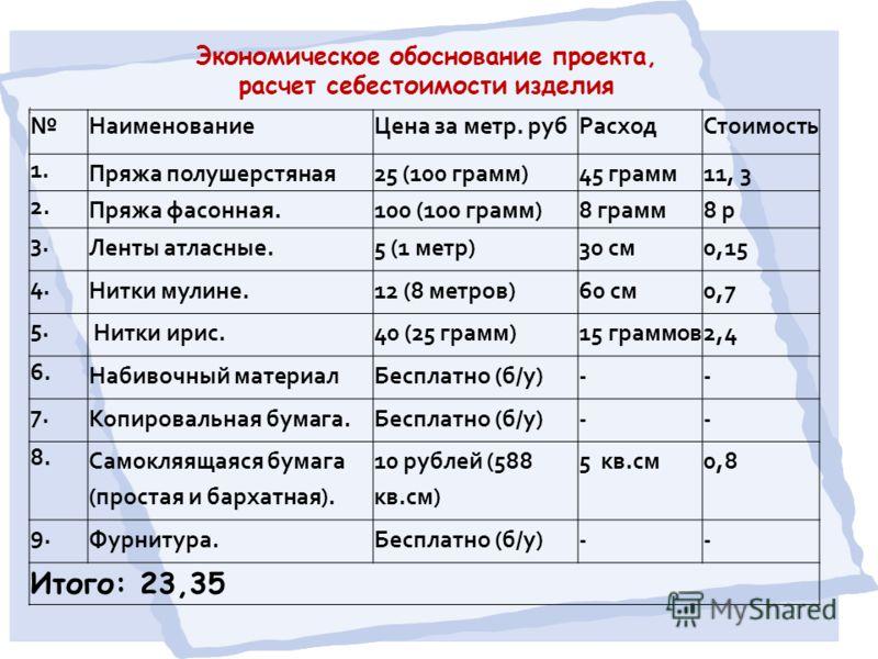 Экономическое обоснование проекта, расчет себестоимости изделия : НаименованиеЦена за метр. рубРасходСтоимость 1. Пряжа полушерстяная25 (100 грамм)45 грамм11, 3 2. Пряжа фасонная.100 (100 грамм)8 грамм8 р 3. Ленты атласные.5 (1 метр)30 см0,15 4. Нитк