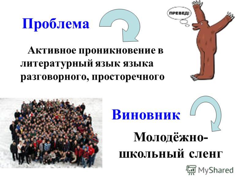 Проблема Активное проникновение в литературный язык языка разговорного, просторечного Виновник Молодёжно- школьный сленг