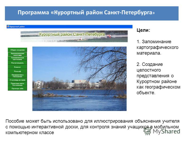 Программа «Курортный район Санкт-Петербурга » Пособие может быть использовано для иллюстрирования объяснения учителя с помощью интерактивной доски, для контроля знаний учащихся в мобильном компьютерном классе Цели: 1. Запоминание картографического ма