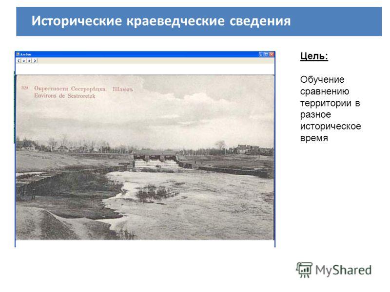 Исторические краеведческие сведения Цель: Обучение сравнению территории в разное историческое время