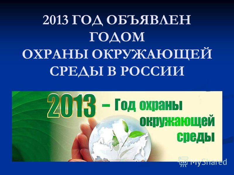 2013 ГОД ОБЪЯВЛЕН ГОДОМ ОХРАНЫ ОКРУЖАЮЩЕЙ СРЕДЫ В РОССИИ