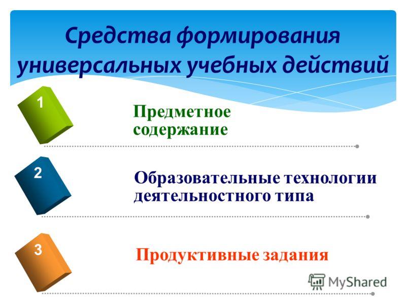 Средства формирования универсальных учебных действий Предметное содержание 1 Образовательные технологии деятельностного типа 2 Продуктивные задания 3