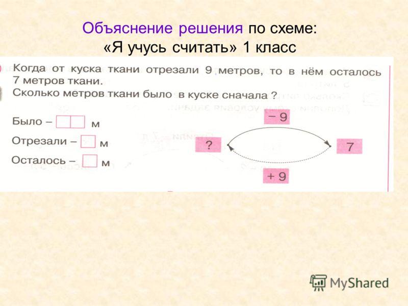 Объяснение решения по схеме: «Я учусь считать» 1 класс