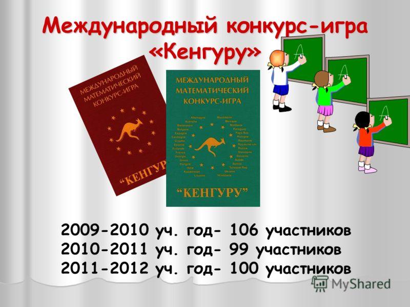 Международный конкурс-игра «Кенгуру» 2009-2010 уч. год- 106 участников 2010-2011 уч. год- 99 участников 2011-2012 уч. год- 100 участников
