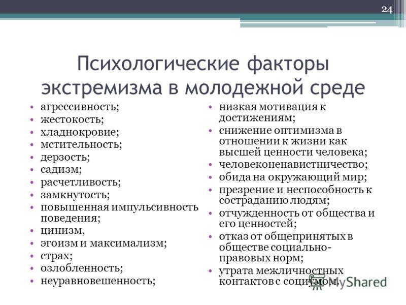 Психологические факторы экстремизма в молодежной среде агрессивность; жестокость; хладнокровие; мстительность; дерзость; садизм; расчетливость; замкнутость; повышенная импульсивность поведения; цинизм, эгоизм и максимализм; страх; озлобленность; неур