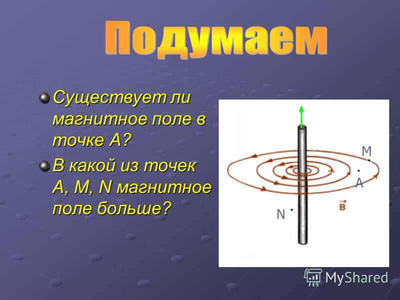 Существует ли магнитное поле в точке А? В какой из точек А, М, N магнитное поле больше? N M А