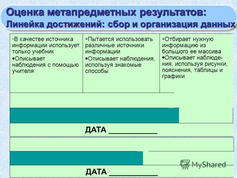 Оценка метапредметных результатов: Линейка достижений: сбор и организация данных Оценка метапредметных результатов: Линейка достижений: сбор и организация данных В качестве источника информации использует только учебник Описывает наблюдения с помощью