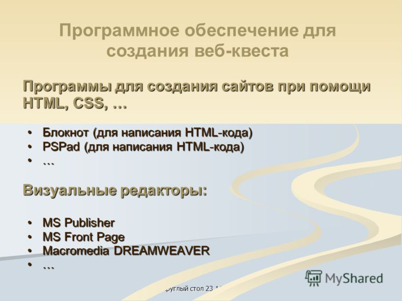 Круглый стол 23.11.2012 Программы для создания сайтов при помощи HTML, CSS, … Блокнот (для написания HTML-кода)Блокнот (для написания HTML-кода) PSPad (для написания HTML-кода)PSPad (для написания HTML-кода) … Визуальные редакторы: MS PublisherMS Pub
