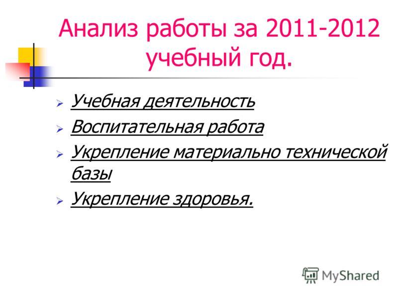 Анализ работы за 2011-2012 учебный год. Учебная деятельность Воспитательная работа Укрепление материально технической базы Укрепление здоровья.