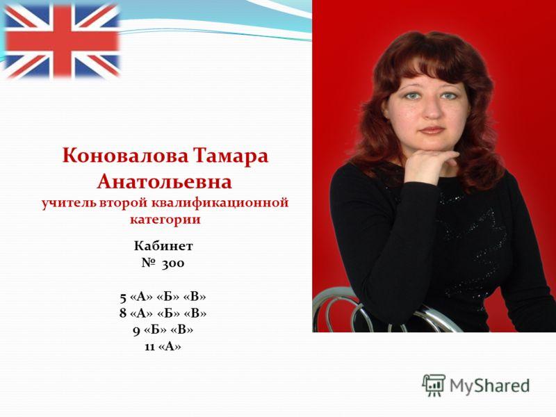 Коновалова Тамара Анатольевна учитель второй квалификационной категории Кабинет 300 5 «А» «Б» «В» 8 «А» «Б» «В» 9 «Б» «В» 11 «А»