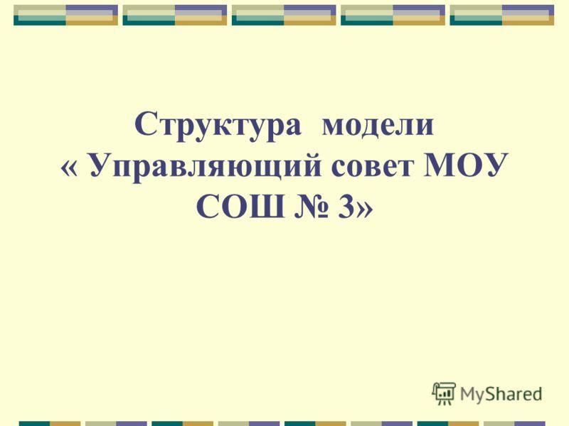Структура модели « Управляющий совет МОУ СОШ 3»