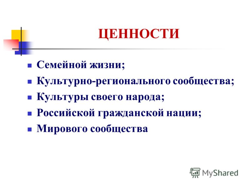 ЦЕННОСТИ Семейной жизни; Культурно-регионального сообщества; Культуры своего народа; Российской гражданской нации; Мирового сообщества