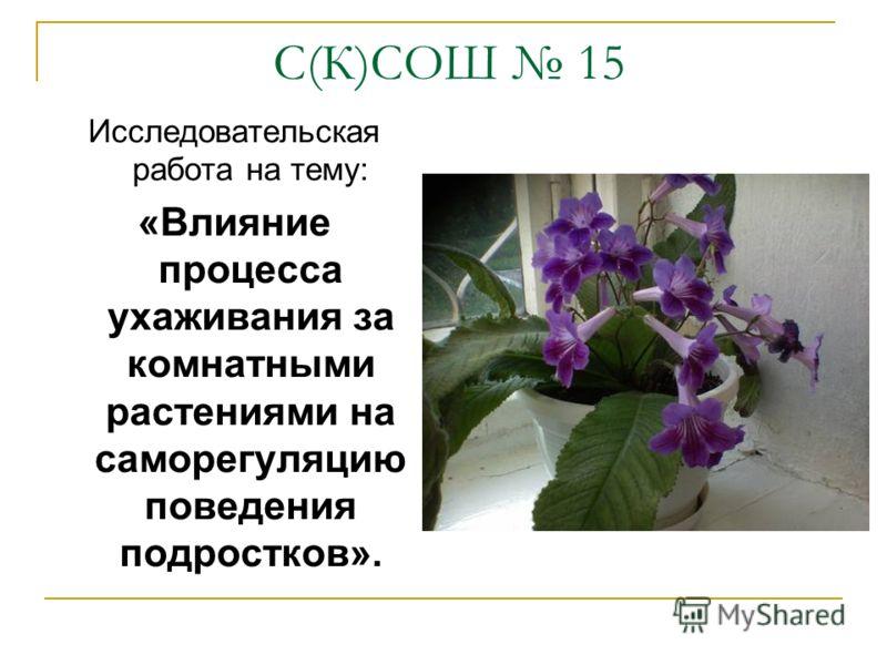 С(К)СОШ 15 Исследовательская работа на тему: «Влияние процесса ухаживания за комнатными растениями на саморегуляцию поведения подростков».