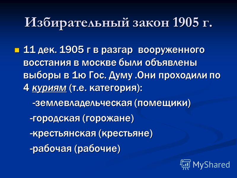 Избирательный закон 1905 г. 11 дек. 1905 г в разгар вооруженного восстания в москве были объявлены выборы в 1ю Гос. Думу.Они проходили по 4 куриям (т.е. категория): 11 дек. 1905 г в разгар вооруженного восстания в москве были объявлены выборы в 1ю Го