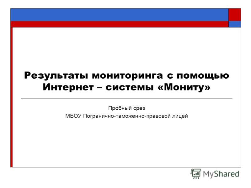 Результаты мониторинга с помощью Интернет – системы «Мониту» Пробный срез МБОУ Погранично-таможенно-правовой лицей