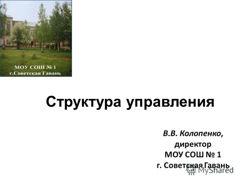 Структура управления В.В. Колопенко, директор МОУ СОШ 1 г. Советская Гавань