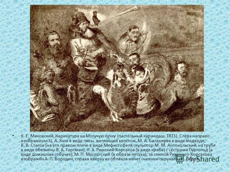 К. Е. Маковский. Карикатура на Могучую кучку (пастельный карандаш, 1871). Слева направо изображены: Ц. А. Кюи в виде лисы, виляющей хвостом, М. А. Балакирев в виде медведя, В. В. Стасов (на его правом плече в виде Мефистофеля скульптор М. М. Антоколь