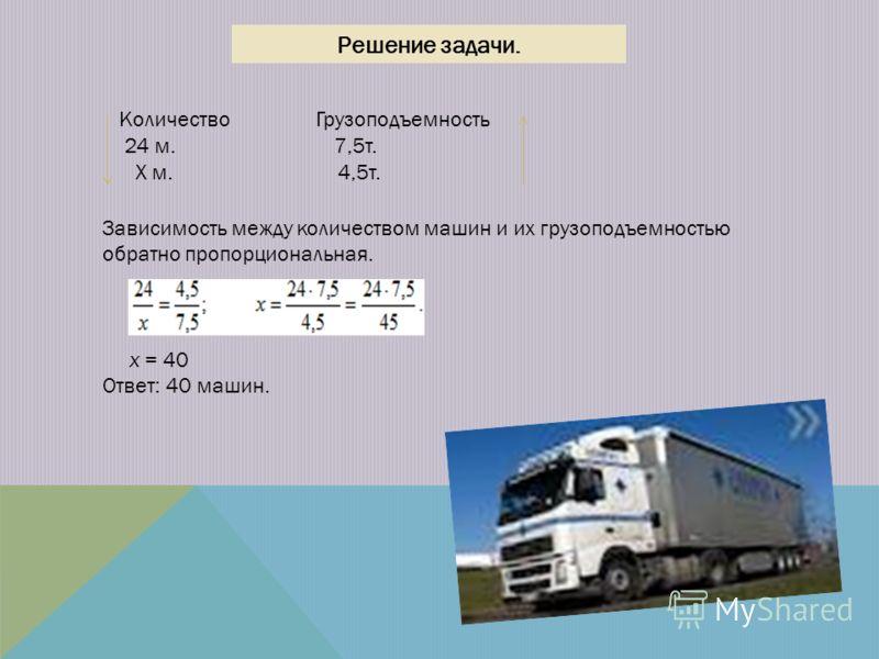 Решение задачи. Количество Грузоподъемность 24 м. 7,5т. Х м. 4,5т. Зависимость между количеством машин и их грузоподъемностью обратно пропорциональная. х = 40 Ответ: 40 машин.