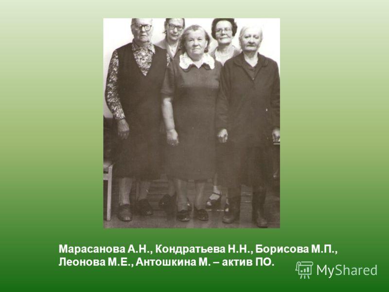 Марасанова А.Н., Кондратьева Н.Н., Борисова М.П., Леонова М.Е., Антошкина М. – актив ПО.