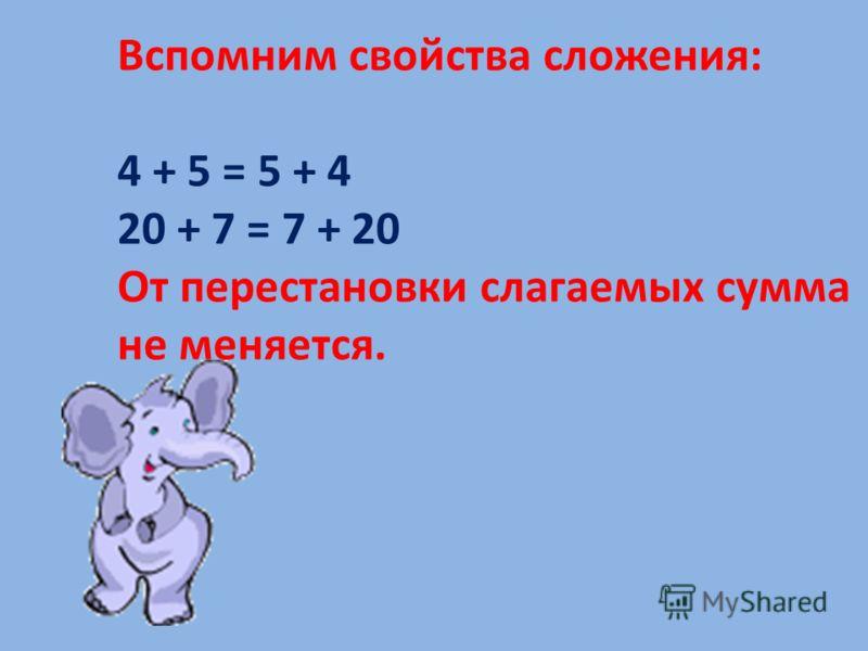Вспомним свойства сложения: 4 + 5 = 5 + 4 20 + 7 = 7 + 20 От перестановки слагаемых сумма не меняется.