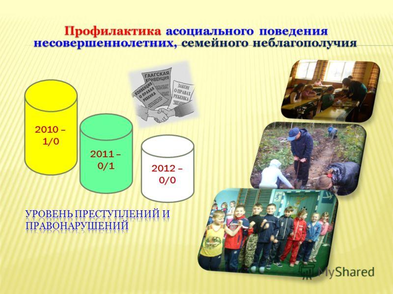 2010 – 1/0 2011 – 0/1 2012 – 0/0 Профилактика асоциального поведения несовершеннолетних, семейного неблагополучия Профилактика асоциального поведения несовершеннолетних, семейного неблагополучия