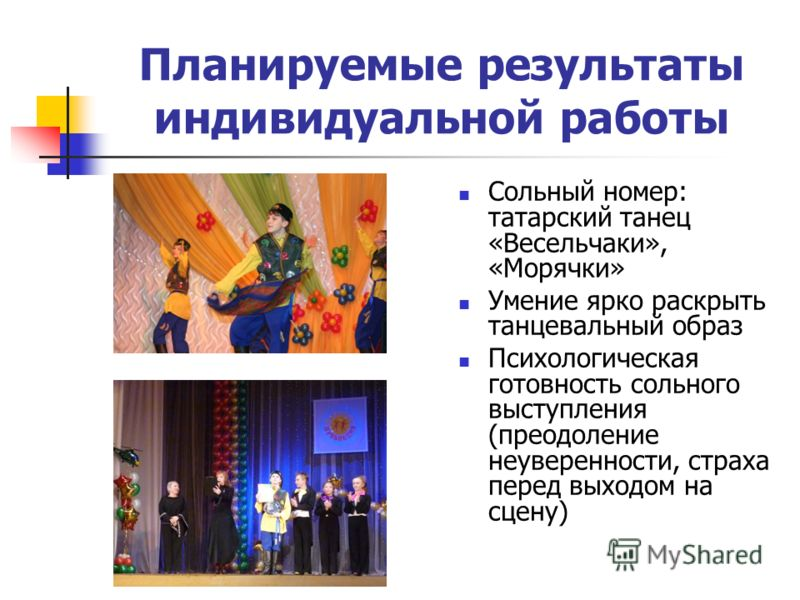 Планируемые результаты индивидуальной работы Сольный номер: татарский танец «Весельчаки», «Морячки» Умение ярко раскрыть танцевальный образ Психологическая готовность сольного выступления (преодоление неуверенности, страха перед выходом на сцену)
