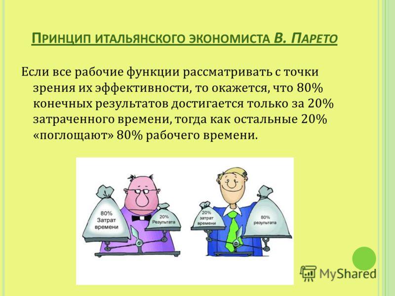 П РИНЦИП ИТАЛЬЯНСКОГО ЭКОНОМИСТА В. П АРЕТО Если все рабочие функции рассматривать с точки зрения их эффективности, то окажется, что 80% конечных результатов достигается только за 20% затраченного времени, тогда как остальные 20% «поглощают» 80% рабо