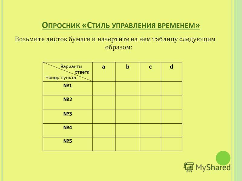 Возьмите листок бумаги и начертите на нем таблицу следующим образом: Варианты ответа Номер пункта abcd 1 2 3 4 5
