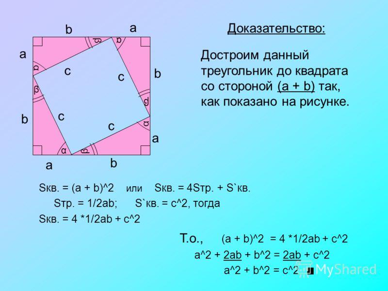 Теорема. В прямоугольном треугольнике квадрат гипотенузы равен сумме квадратов катетов Дано: прямоугольный треугольник с катетами a, b и гипотенузой c. Док-ть: a^2 + b^2 = c^2a^2 + b^2 = c^2 a b c α β