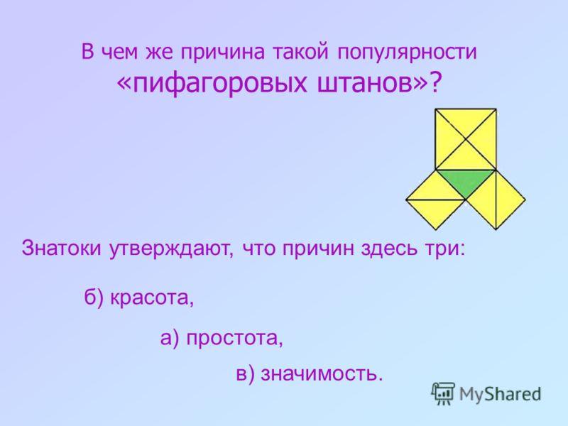 Без преувеличения можно сказать, что это самая известная теорема геометрии, ибо о ней знает подавляющее большинство населения планеты, хотя доказать ее способна лишь очень незначительная его часть. Теорема Пифагора!