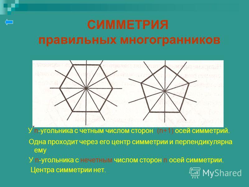 СИММЕТРИЯ правильных многогранников У n-угольника с четным числом сторон (n+1) осей симметрий. Одна проходит через его центр симметрии и перпендикулярна ему У n-угольника с нечетным числом сторон n осей симметрии. Центра симметрии нет.