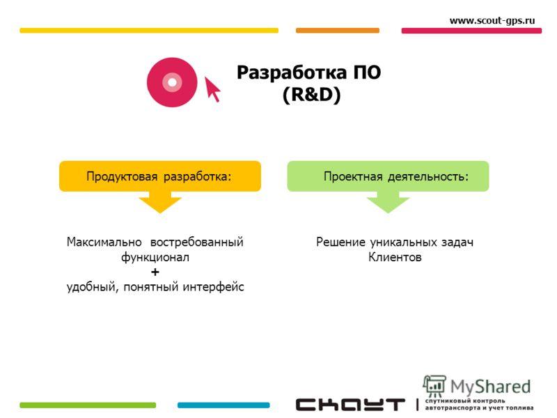 Разработка ПО (R&D) Продуктовая разработка:Проектная деятельность: www.scout-gps.ru Максимально востребованный функционал + удобный, понятный интерфейс Решение уникальных задач Клиентов
