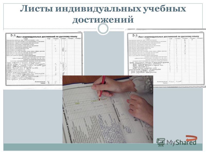Листы индивидуальных учебных достижений Ф