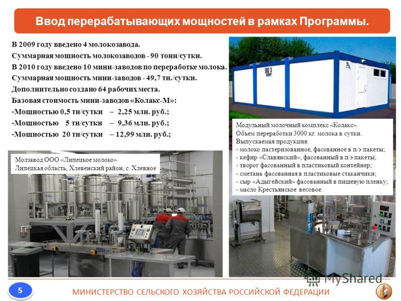 Ввод перерабатывающих мощностей в рамках Программы. МИНИСТЕРСТВО СЕЛЬСКОГО ХОЗЯЙСТВА РОССИЙСКОЙ ФЕДЕРАЦИИ 5 5 В 2009 году введено 4 молокозавода. Суммарная мощность молокозаводов - 90 тонн/сутки. В 2010 году введено 10 мини-заводов по переработке мол