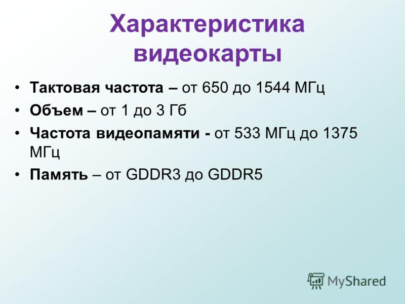 Характеристика видеокарты Тактовая частота – от 650 до 1544 МГц Объем – от 1 до 3 Гб Частота видеопамяти - от 533 МГц до 1375 МГц Память – от GDDR3 до GDDR5