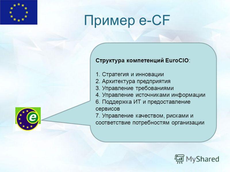 Пример e-CF Структура компетенций EuroCIO: 1. Стратегия и инновации 2. Архитектура предприятия 3. Управление требованиями 4. Управление источниками информации 6. Поддержка ИТ и предоставление сервисов 7. Управление качеством, рисками и соответствие п