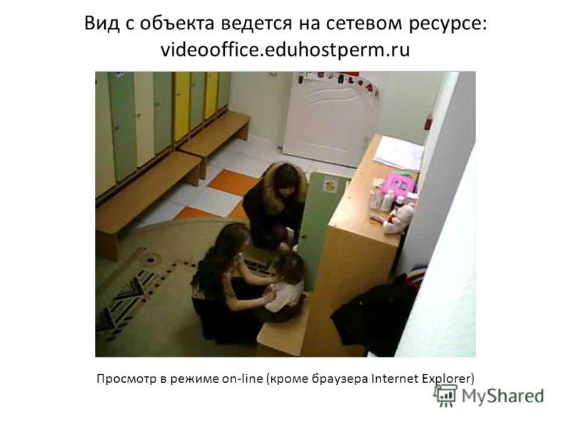 Вид с объекта ведется на сетевом ресурсе: videooffice.eduhostperm.ru Просмотр в режиме on-line (кроме браузера Internet Explorer)