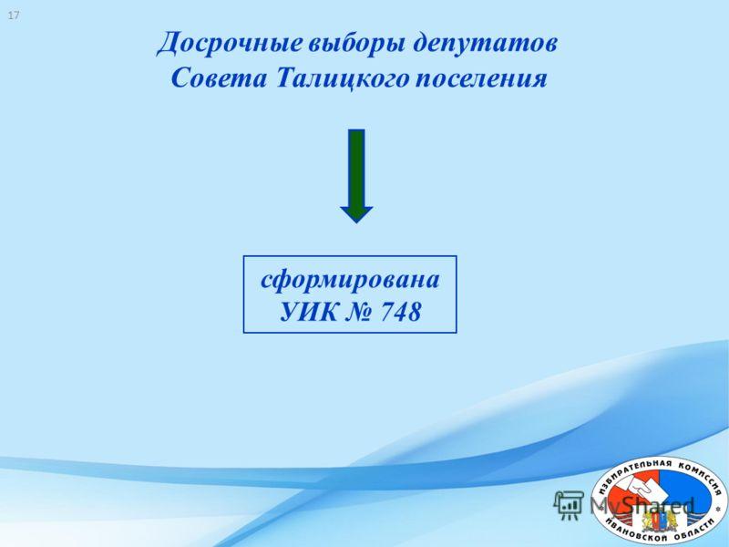 Досрочные выборы депутатов Совета Талицкого поселения сформирована УИК 748 17