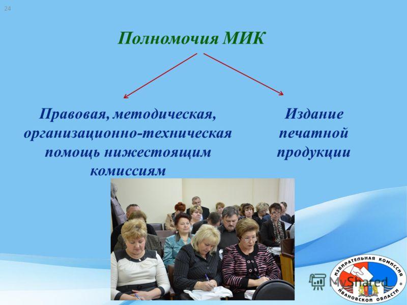 Правовая, методическая, организационно-техническая помощь нижестоящим комиссиям Издание печатной продукции Полномочия МИК 24
