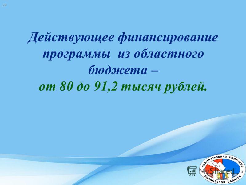 Действующее финансирование программы из областного бюджета – от 80 до 91,2 тысяч рублей. 29