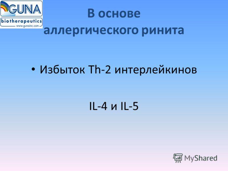 В основе аллергического ринита Избыток Th-2 интерлейкинов IL-4 и IL-5
