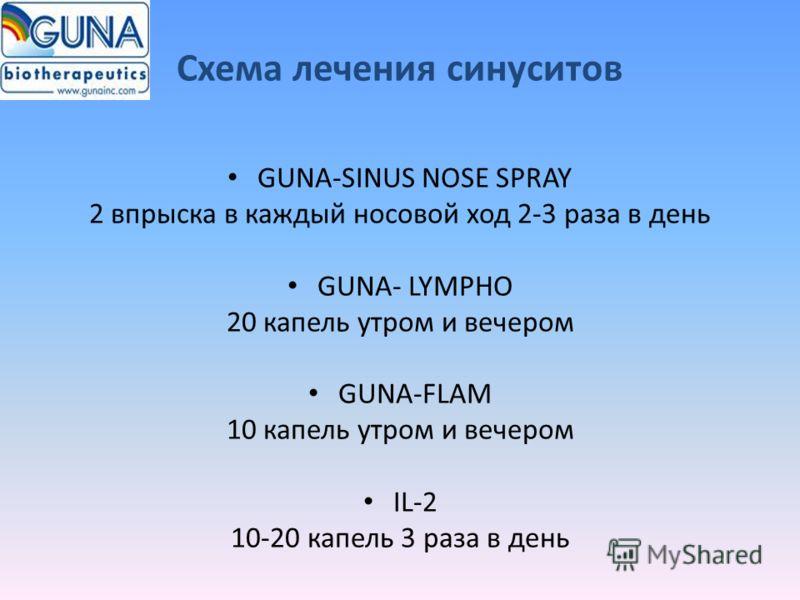 Схема лечения синуситов GUNA-SINUS NOSE SPRAY 2 впрыска в каждый носовой ход 2-3 раза в день GUNA- LYMPHO 20 капель утром и вечером GUNA-FLAM 10 капель утром и вечером IL-2 10-20 капель 3 раза в день