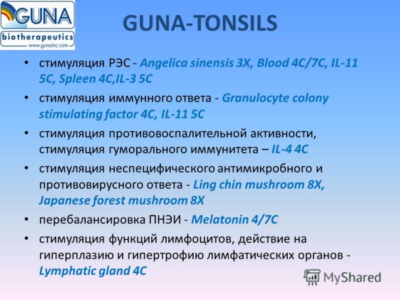 GUNA-TONSILS стимуляция РЭС - Angelica sinensis 3X, Blood 4C/7C, IL-11 5C, Spleen 4C,IL-3 5C стимуляция иммунного ответа - Granulocyte colony stimulating factor 4C, IL-11 5C стимуляция противовоспалительной активности, стимуляция гуморального иммунит