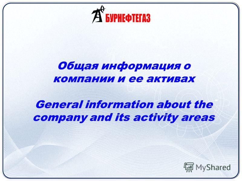 Общая информация о компании и ее активах General information about the company and its activity areas