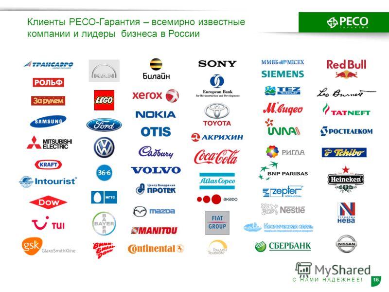 16С Н А М И Н А Д Е Ж Н Е Е ! Клиенты РЕСО-Гарантия – всемирно известные компании и лидеры бизнеса в России