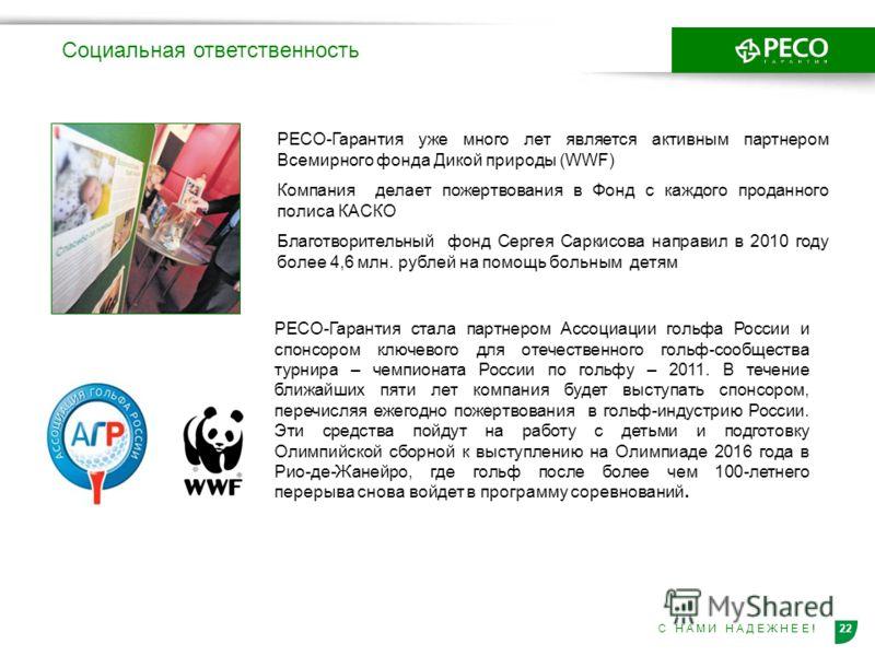 22С Н А М И Н А Д Е Ж Н Е Е ! Социальная ответственность РЕСО-Гарантия уже много лет является активным партнером Всемирного фонда Дикой природы (WWF) Компания делает пожертвования в Фонд с каждого проданного полиса КАСКО Благотворительный фонд Сергея