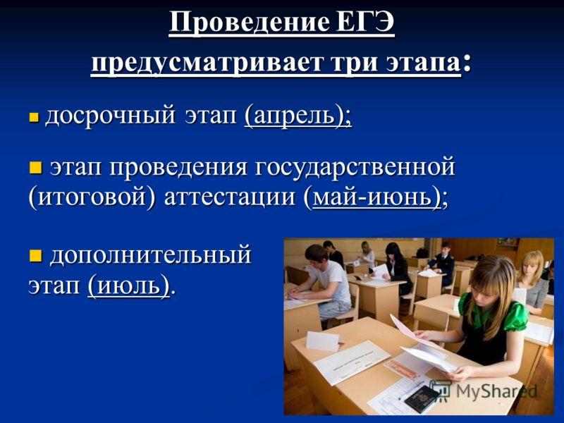 Проведение ЕГЭ предусматривает три этапа : досрочный этап (апрель); досрочный этап (апрель); этап проведения государственной (итоговой) аттестации (май-июнь); этап проведения государственной (итоговой) аттестации (май-июнь); дополнительный этап (июль