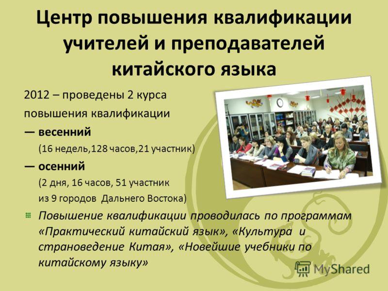 Центр повышения квалификации учителей и преподавателей китайского языка 2012 – проведены 2 курса повышения квалификации весенний (16 недель,128 часов,21 участник) осенний (2 дня, 16 часов, 51 участник из 9 городов Дальнего Востока) Повышение квалифик