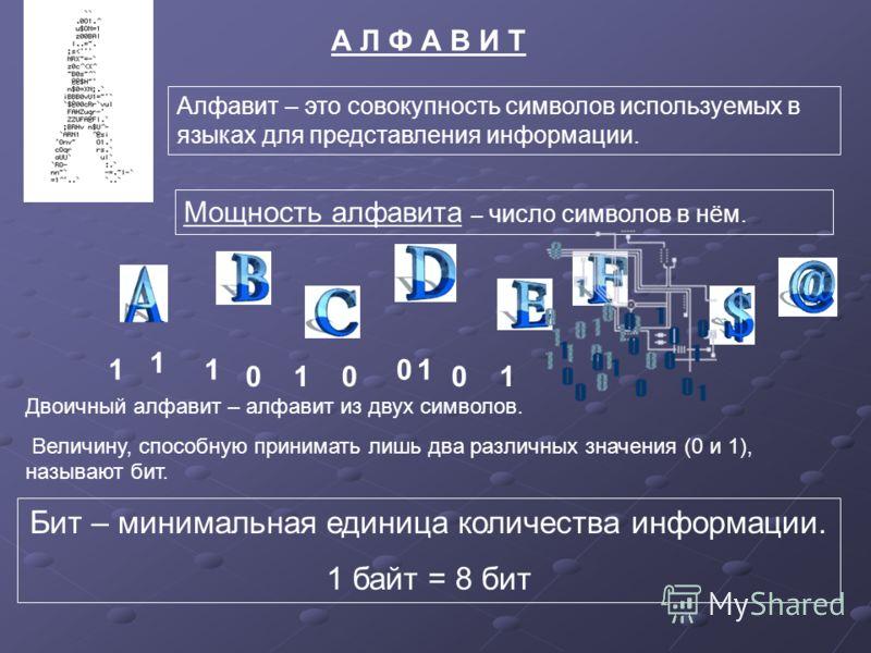 А Л Ф А В И Т Алфавит – это совокупность символов используемых в языках для представления информации. Мощность алфавита – число символов в нём. Двоичный алфавит – алфавит из двух символов. Величину, способную принимать лишь два различных значения (0