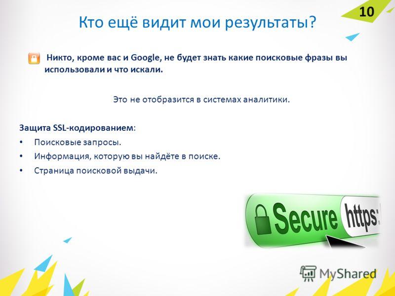 Кто ещё видит мои результаты? Это не отобразится в системах аналитики. Защита SSL-кодированием: Поисковые запросы. Информация, которую вы найдёте в поиске. Страница поисковой выдачи. Никто, кроме вас и Google, не будет знать какие поисковые фразы вы